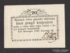 Húsz pengő krajczárra 1849. Rozsnyó. UNC!!!