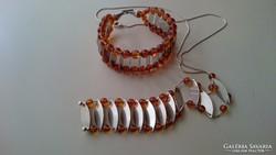 Gyönyörű Artdeco Ezüst és borostyán nyaklánc /karkötő