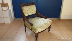 Gyönyörű bársony ónémet faragott pihenő fotel