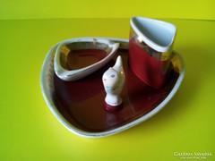 Hollóházi hamutartó készlet, porcelán