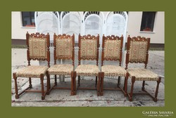 5db trón jellegű étkező szék,faragásokkal díszítve...