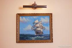 Vitorlás hajó - gyönyörű olajfestmény