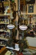 Figurális bronzírozott spiáter petróleum lámpák