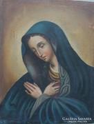 Antik olaj vászon festmény: Mária ábrázolás,