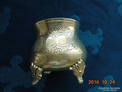 Ezüstözött gravírozott angol cukortartó-4 dombor bronz lábon