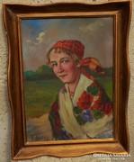 Ivanácz Zsolt József (1869.-) festménye Menyecske