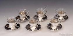 Ezüst szecessziós kávéscsésze készlet
