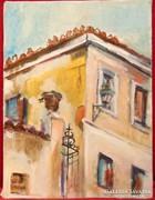 Utcafront -gyönyörű színekkel megfestett ház