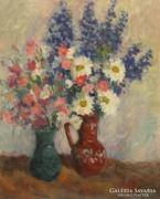 Magyar festő, 1950 körül : Virágok vázában