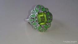 Gyönyörű tűzzománcos, zöld köves ezüst gyűrű