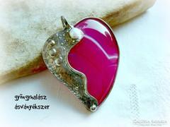 Pink achát +igazgyöngy medál Kézműves ásvány ékszer