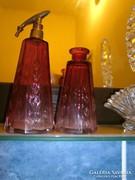 Antik parfümös színármenetes  2 db csiszolt  üveg