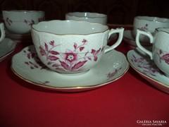 6 személyes teás készlet  herendi pink + 6 sütis tányér