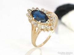 Gyönyörű gyémánt zafír gyűrű 0,32 krt akcio