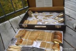 Antik! LUXUS! rózsa arany evőeszköz 24 kar.arany 800as ezüst