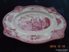 Kastélyos ovális nagy angol pink dísztál -28x23,5x2 cm
