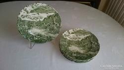6 zöld jelenetes Johnson Bros kistányér (20.2 cm-es)
