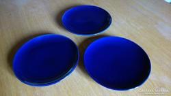 3 db kobaltkék süteményes tányér