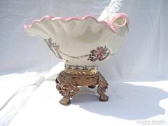 Bronz és porcelán kézzel festett kínáló