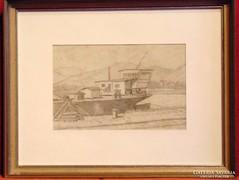 Lakóhajó - szép,és régi ceruza rajz