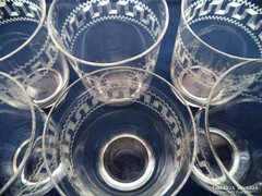 Antik pohárkészlet, poharak, maratott mintával