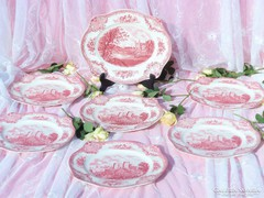 Angol pink fajansz szögletes készlet