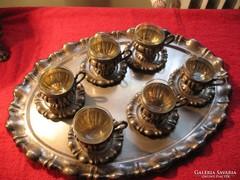 Ezüst mokkás kávés készlet 6-6 csésze + alj + 790 gr-os tál