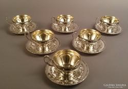 6 személyes ezüst teás készlet