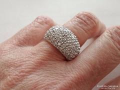Szép art deco  ezüstgyűrű rengeteg kővel