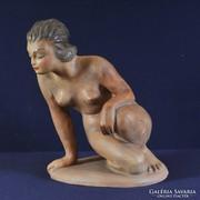 Dr Rank Art deco ülő női akt, terrakotta,