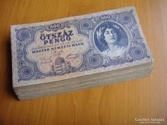 ***  Egy 100db os köteg 500 pengő ***