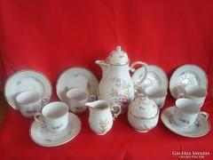 Hollóházi Hollóháza Barokk Rózsa Fogós Kávés Készlet
