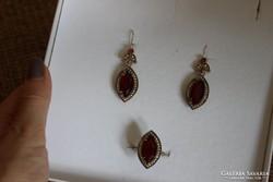 Ezüst és bronz fülbevaló és gyűrű
