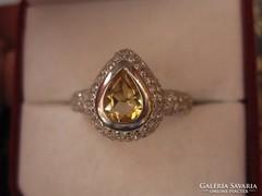 Cseppalakú ezüst gyűrű citrin, fehér topáz 1,9 cm