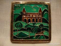 Ezüstözött tűzzománcos doboz , dózni Pécs