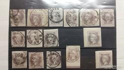 1867. Hírlapbélyeg.15.db. szép magyar bélyegzések.
