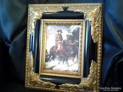 Napoleon átkel az Alpokon ANTIK BAROKK PORCELÁN KÉP, KERET