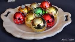 Régi üveg karácsonyfadíszek, üveggömbök 9 db