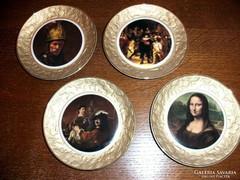 4 db JELZETT PORCELÁN FESTMÉNY KÉP GARNITÚRA, Rembrandt stb.