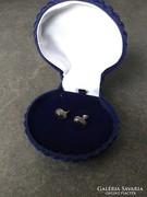 Régi mexikói ezüst fülbevaló onix kővel