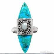 Türkiz köves gyűrű ezüst és  igazgyöngy díszítéssel