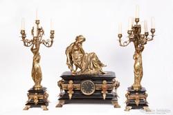 MOREAU antik aranyozott bronzfigura ora gyertyatarto 19.sz