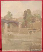 Tscheligi Lajos / Folyó híddal 1959