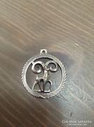 Régi ródiumozott ezüst medál