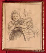Mosoly - régi ceruza rajz