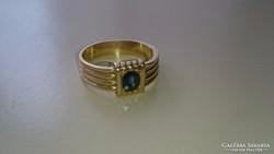 Arany 14 karátos gyűrű, Kék Zafírral