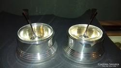 Ezüst art deco fűszertartó párban, kanállal