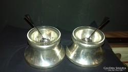 Ezüst art deco fűszertartó kanállal