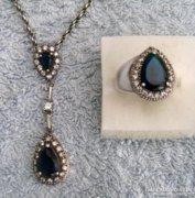 Különleges Hürrem török ezüst gyűrű és medál zafírokkal