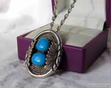 Gyönyörű ezüst medál/bross türkizes díszítéssel